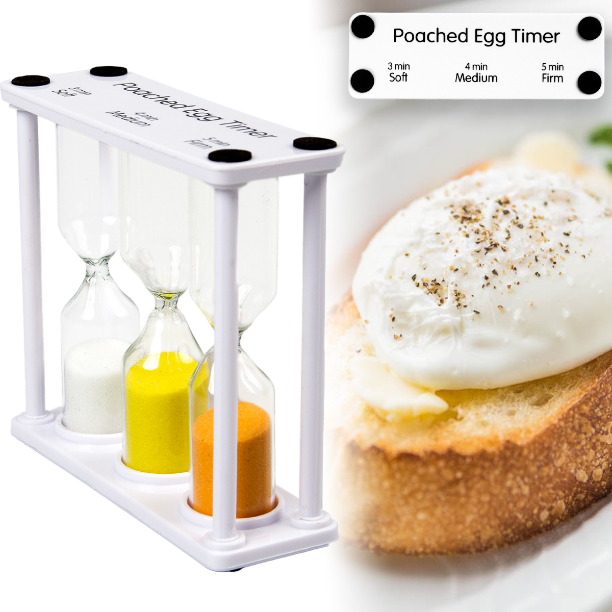 Poached Egg Timer Colorful Sand Hourglass 3, 4, & 5 Minutes Kitchen Cute Novelty Gadget