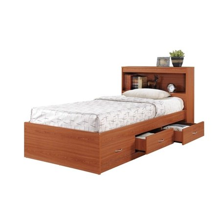 Hodedah  Twin-Size Captain Bed with 3-Drawers and Headboard
