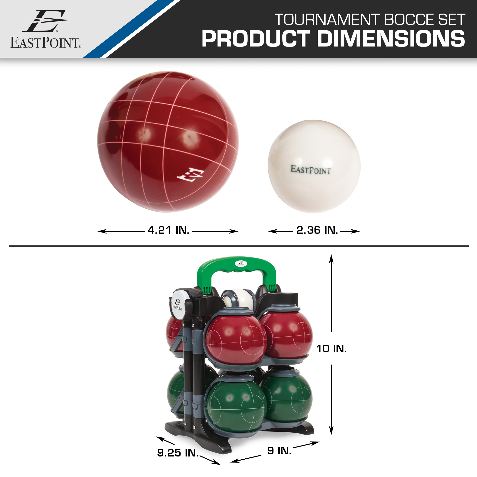 Eastpoint Sports Premium Resin Bocce Set With Carrier Bocce Set
