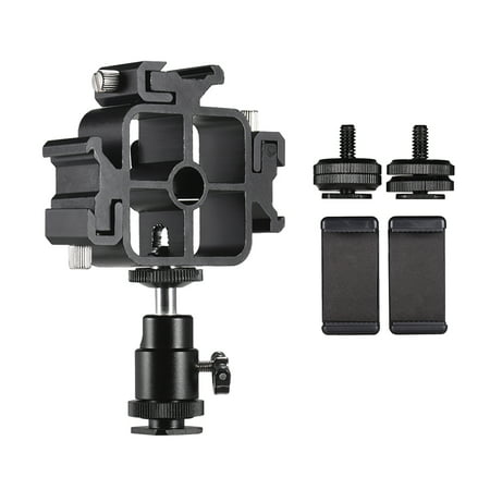 Triple Cold Shoe Mount Flash Speedlite Bracket Photography Umbrella Holder with Ballhead Adapter Phone Holders for Smartphone Flash LED Video Light Monitor Microphone ()