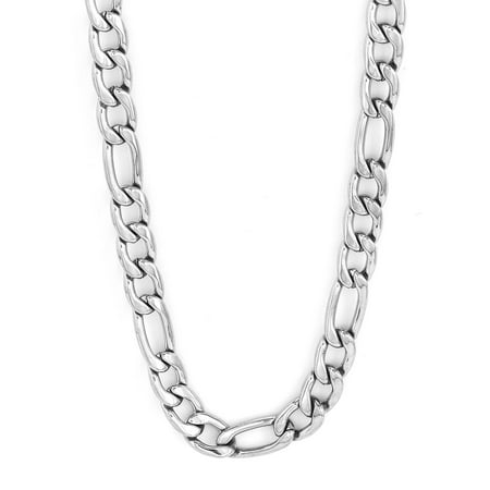 Stainless Steel Polished Figaro Chain Necklace (5mm) - 30