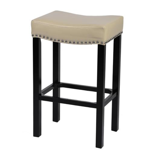 "Tudor Bonded Leather/Chrome Nails 26-inch/ 30-inch Stool 26"" Cream"