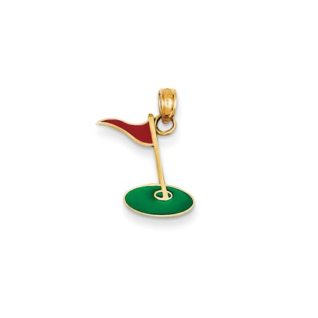 - 14k Gold Enameled Golf Flag Green Charm