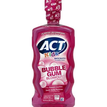 (2 pack) ACT Kids Bubble Gum Blowout Anticavity Fluoride Rinse,