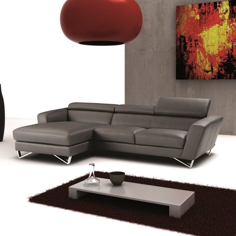J&M Furniture Sparta Leather Left Mini Sectional in Grey