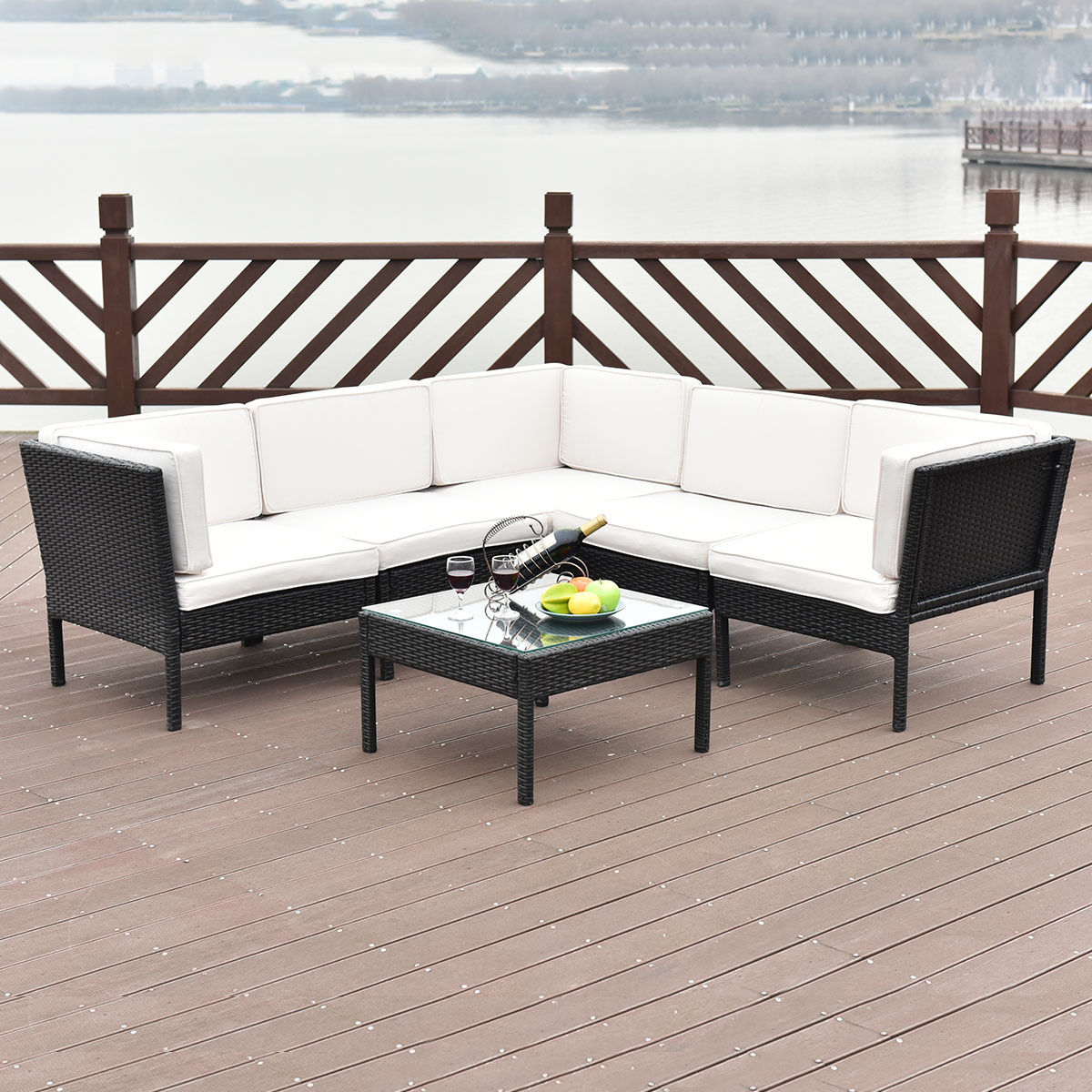 Costway 6 PCS Rattan Wicker Patio Furniture Set Steel Frame Sofa Cushioned  Black