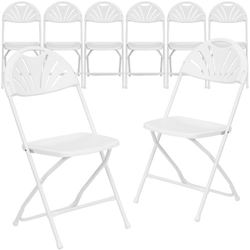 Flash Furniture 8-Pack HERCULES Series 800 lb Capacity White Plastic Fan Back Folding Chair