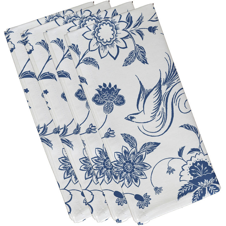 "Simply Daisy 19"" x 19"" Traditional Bird Floral Floral Print Napkins, Set of 4"