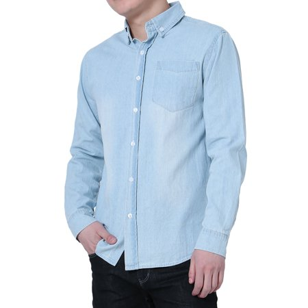 Men Long Sleeves Patch Pocket Button Down Washed Denim