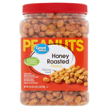 (3 Pack) Great Value Honey Roasted Peanuts, 34.5 oz
