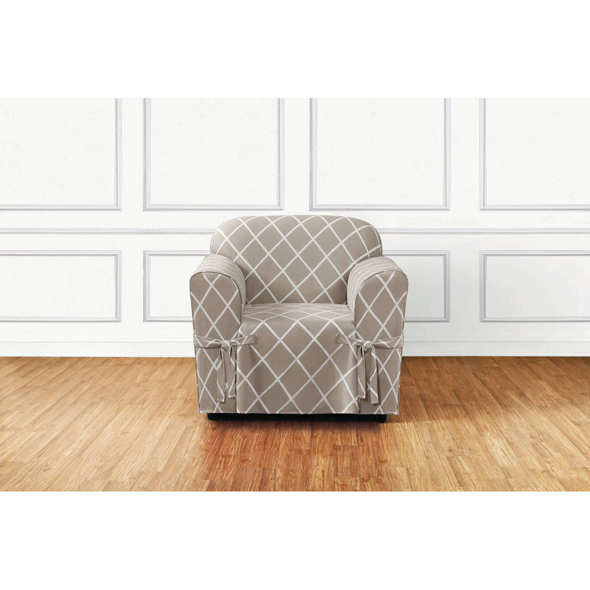 Sure Fit Lattice 1-Piece Straight Skirt Chair Slipcover
