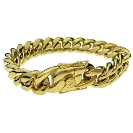 Mens 24k Gold Plated 14MM Miami Cuban Bracelet 8.5