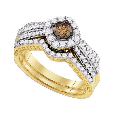 14kt Yellow Gold Womens Cognac-brown Diamond Bridal Wedding Engagement Ring Band Set 1.00 Cttw - image 1 de 1