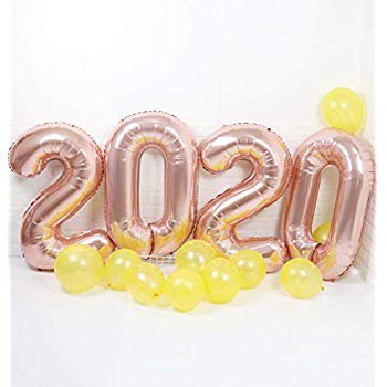 40inch Large 2020 Number Balloons Rose Gold Helium Foil Mylar-10pcs Latex Yellow Balloons for Happy New Year Senior Graduation Event Anniversary Party Supplies Decoration Mylar Blues Clues Helium Balloon
