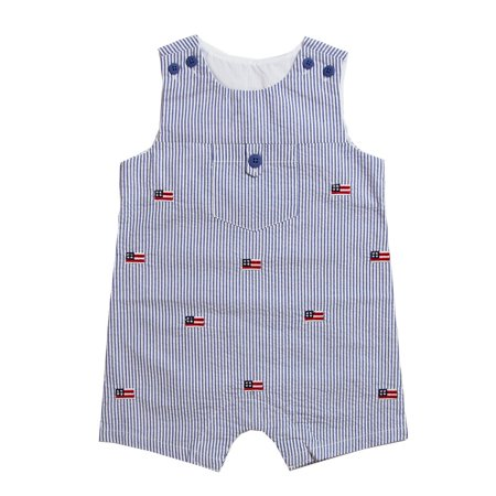 Welcome Home Baby Boy (Good Lad Newborn/Infant Boys Blue Seersucker July 4th Shortall with Flag)