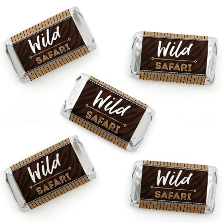 Wild Safari - Mini Candy Bar Wrapper Stickers - African Jungle Adventure Birthday Party or Baby Shower Small Favors - 40