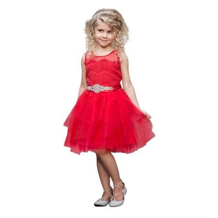 Fairy Tale Chiffon Dress (Think Pink Bows Girls Red Sash Fairy Tale Junior Bridesmaid)