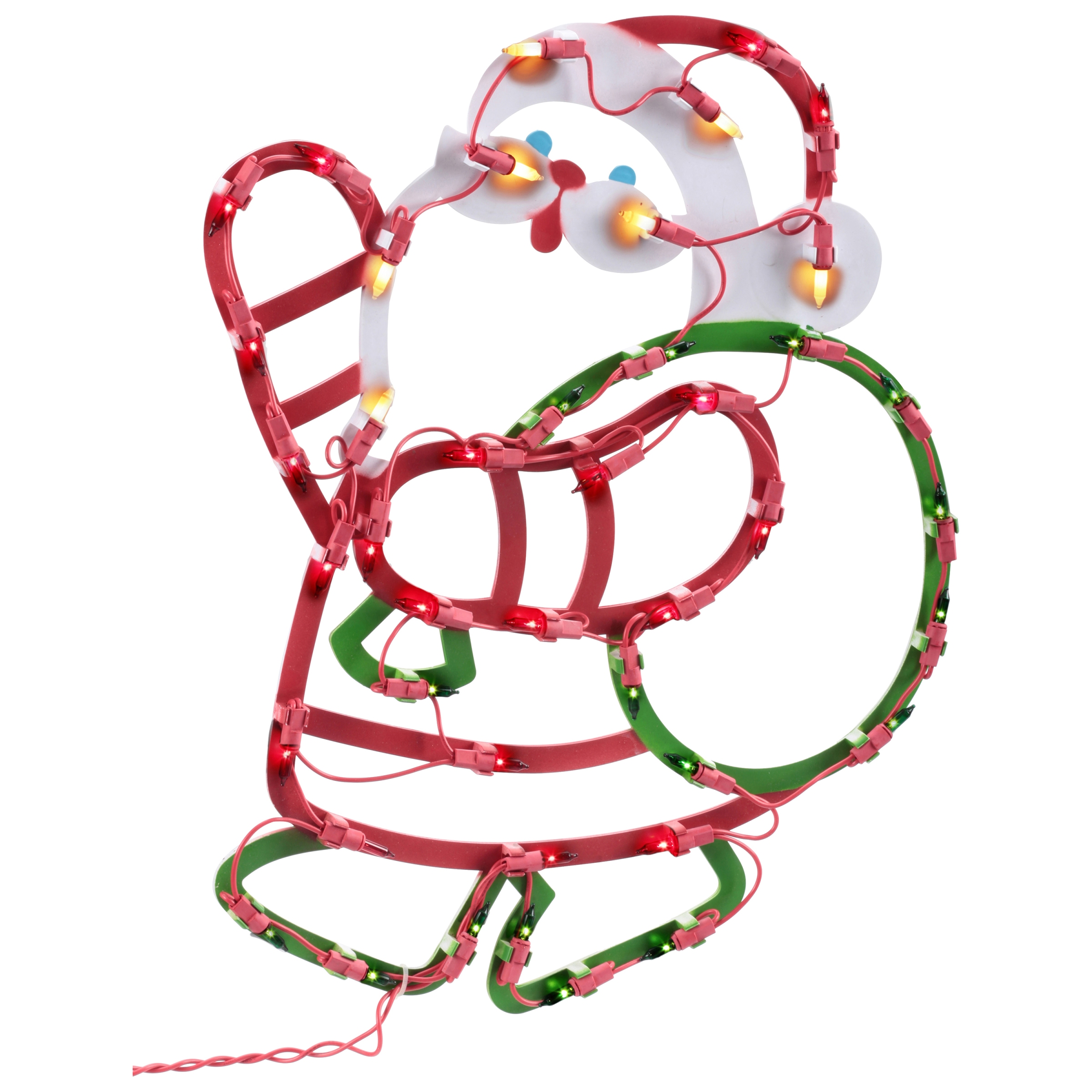 Holiday Time Christmas Decor Light Up Santa with Bag