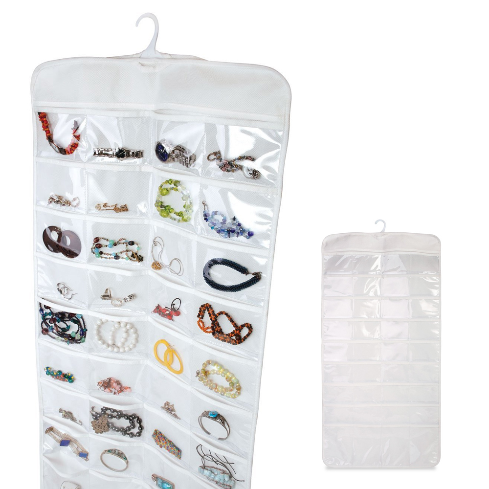 72 Pocket Jewelry Hanging Storage Organizer Holder Earring Bag Pouch