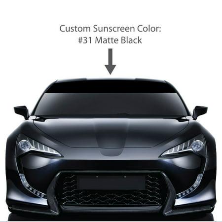 "6"" x 72"" Windshield Visor Sunscreens. / MATTE BLACK / Universal Fit / car truck auto vehicle van sticker tape strip stripe vinyl solid sun screen window decal / Custom Made By 1060 Graphics."