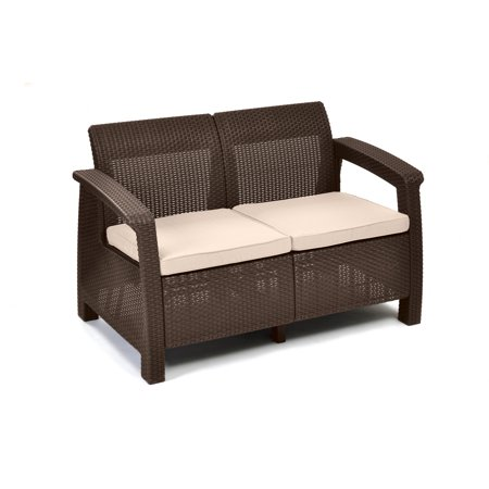 Keter Corfu Resin Love Seat With Cushions All Weather