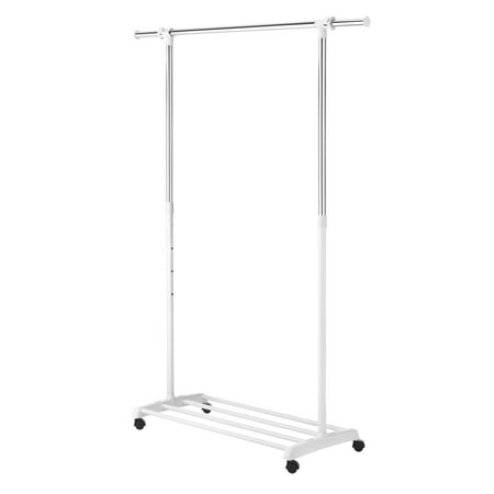 Whitmor Deluxe Adjustable Garment Rack - Rolling Clothes Organizer - White and Chrome