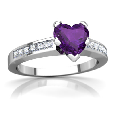 Amethyst Channel Set Ring in 14K White Gold by