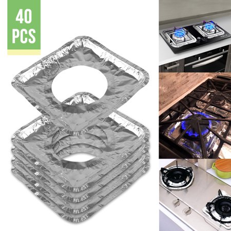 "Gas Stove Burner Covers (40 Pack) – Disposable Aluminum Foil Gas Stove Protectors Drip Pans - 8"" Square Burner Cover Liners Great for Keeping Gas Range Stoves Clean from Oil & Food (Best Way To Clean Drip Pans From Stove)"