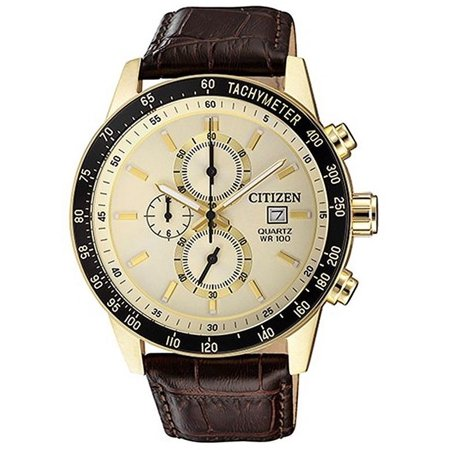 9b96c74a1 CITIZEN - Men's Gold Tone Chronograph Leather Strap Watch AN3602-02A -  Walmart.com