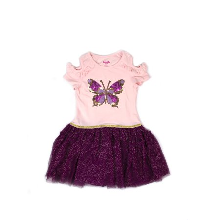 Cold Shoulder Butterfly Ruffled Mesh Dress (Little Girls)