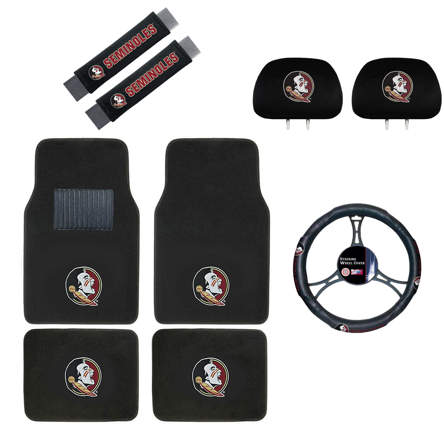 Florida State Seminoles Floor Mat, Headrest Wheel Cover and Shoulder Pads Gift Set