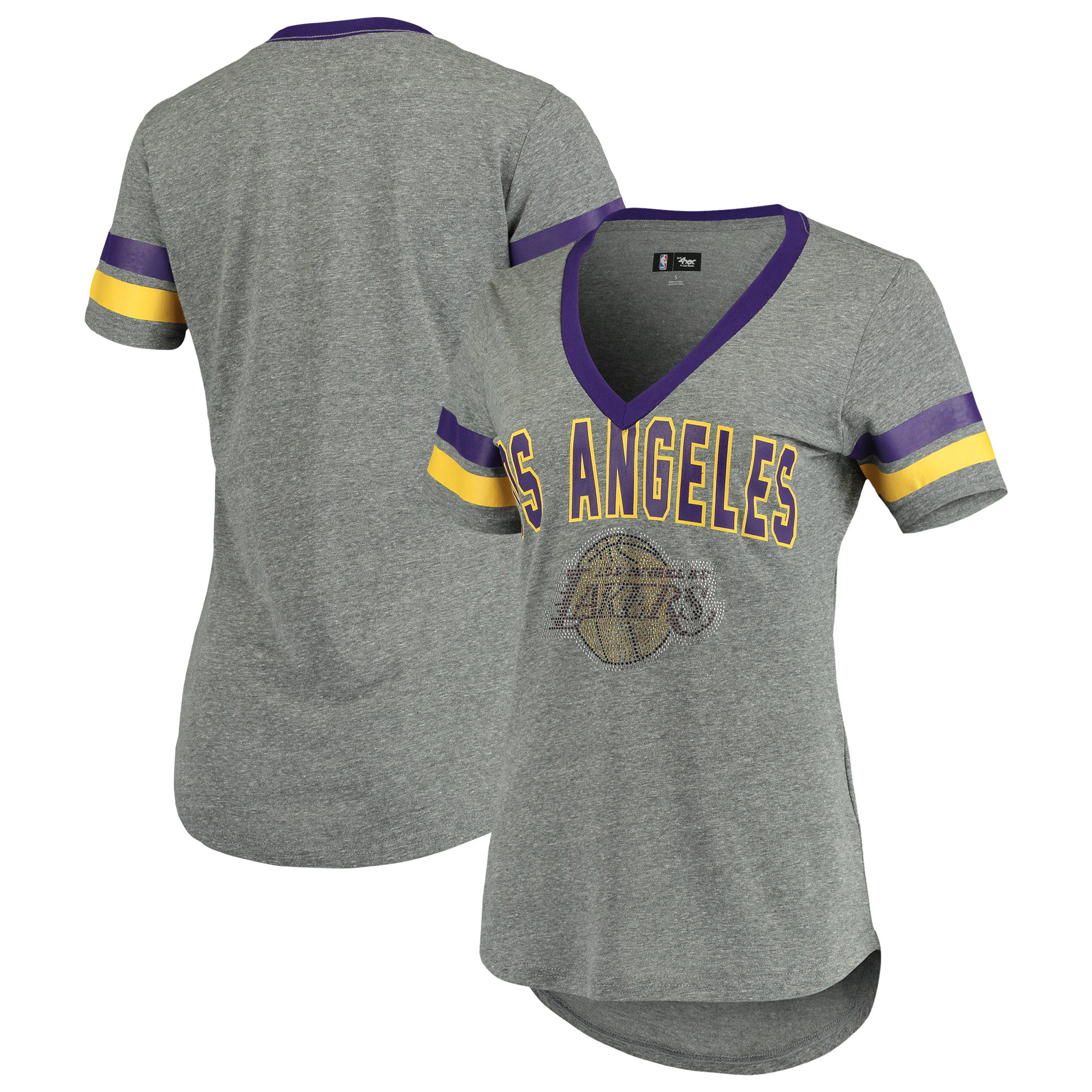 Los Angeles Lakers G-III 4Her by Carl Banks Women's Walk Off Crystal Applique Logo V-Neck Tri-Blend T-Shirt - Gray/Purple