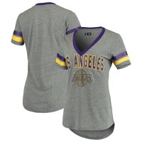 Los Angeles Lakers G-III 4Her by Carl Banks Women's Walk Off Crystal Applique Logo V-Neck Tri-Blend T-Shirt -