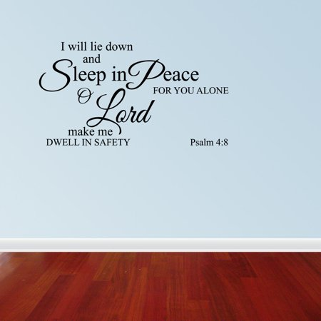 Psalms 4:8 I Will Lie Down And Sleep Religious Wall Decal Vinyl Scripture ()