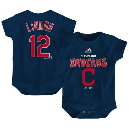 Francisco Lindor Cleveland Indians Majestic Newborn & Infant Stitched Player Name & Number Bodysuit - Navy