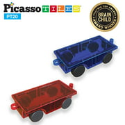 PicassoTiles 2 Piece Car Truck Set with Extra Long Bed & Re-Enforced Latch Magnet Building Blocks Tiles