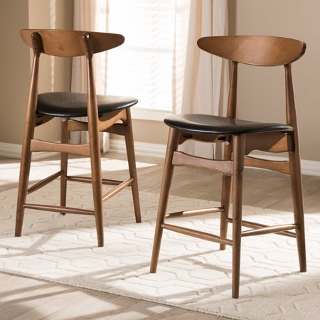 Set of 2 Baxton Studio Flora Mid-Century Modern Black Faux Leather Upholstered Walnut Finished Counter Stool ()