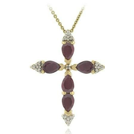 Diamond Accent Ruby Cross Pendant Ruby Yellow Cross