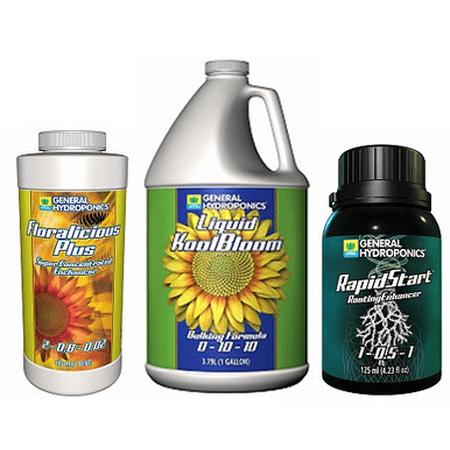 Gh Enhancers (GH Liquid KoolBloom 1 gal, GH Floralicious Plus 16 oz, RapidStart Root Enhancer 125 ml )