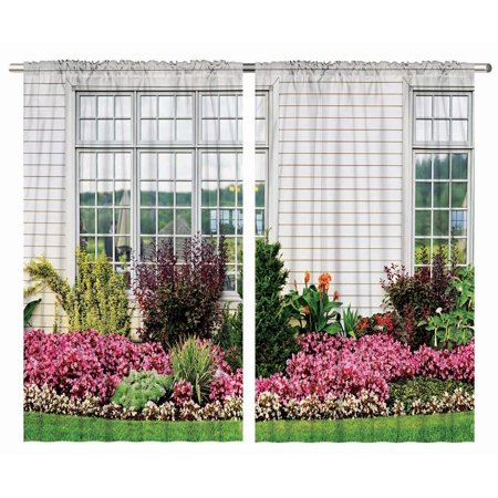 - European Flower Design Modern Art Prints Country Style Floral Curtain Two Panels