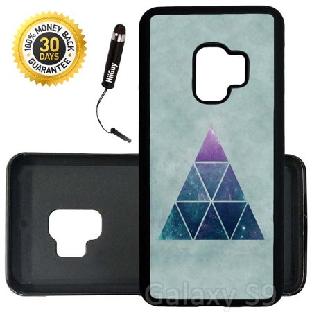 Cool Triangle - Custom Galaxy S9 Case (Cool Hipster Triangle Blue) Edge-to-Edge Rubber Black Cover Ultra Slim | Lightweight | Includes Stylus Pen by Innosub