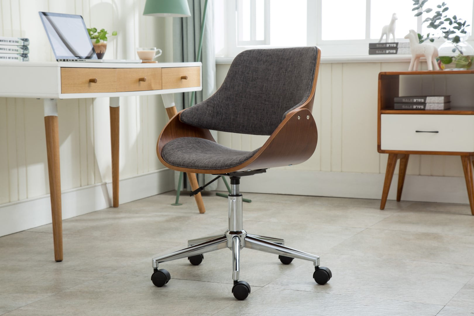 Image of: Porthos Home Adjustable Height Mid Century Modern Office Desk Chair Fabric And Wood With Caster Wheels Easy Assembly Walmart Com Walmart Com