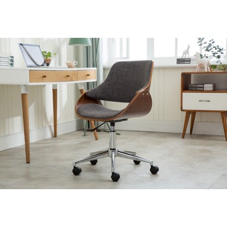 Porthos Home Adjustable Height Mid Century Modern Office Desk Chair, Fabric  and Wood with Caster Wheels, Easy Assembly