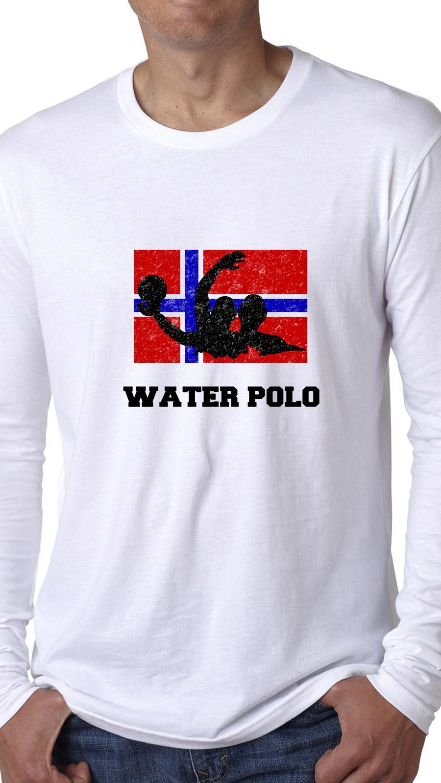 Norway Olympic Water Polo Flag Silhouette Men's Long Sleeve T-Shirt by Hollywood Thread