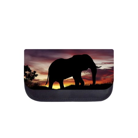 Elephant Sunset Silhouette - Black Pencil Bag - Pencil Case