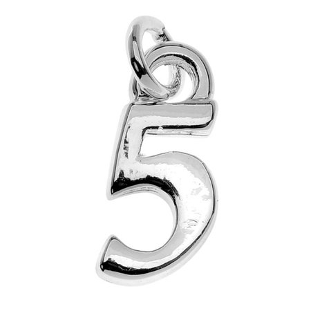 Silver Plated Charm, Small Number 5 11.3x5x1.5mm, 1 Piece, Silver - Number Charms