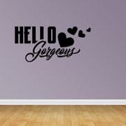 Hello Gorgeous Wall Decal Cute Hearts Happy Love Girl's Room Quote Decor JP430