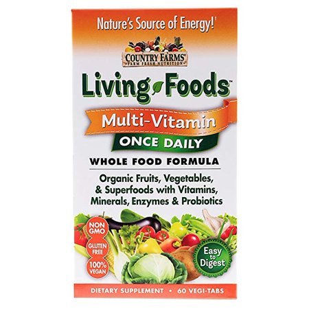Living Multivitamin - 4 Pack Country Farms Living Foods Multivitamin Once Daily 60 Tablets each