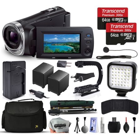 Sony HDR-PJ440 Full HD Handycam Camcorder Video Camera + 128GB Memory + Charger with Car/Euro Adapter + Action Stabilizer + LED Night Light + Large Case + Monopod + Dust Cleaning Kit + More