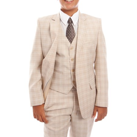 Howard 3 Piece Suit (Boys Suit 3-Piece Checkered Suit WIth Free Matching Shirt & Tie Size 2-20-BLOWOUT)